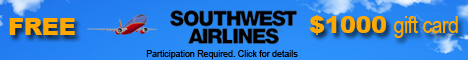 Claim Your $1000 Gift Card to Southwest Airlines!